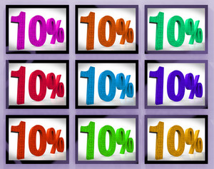 10 On Monitors Showing Several Discounts And Promotions