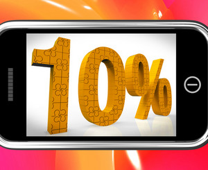 10 On Smartphone Showing Cheap Products And Price Deals
