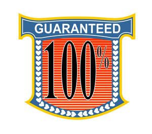 100% Guaranteed In Blue Heart Shield