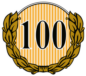 100 In Circle With Laurel Leaves