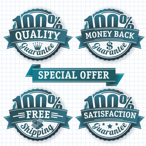 100 Percent Badges. Vector Design Elements Set.