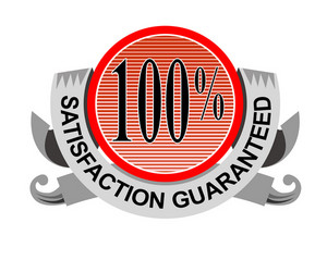 100% Satisfaction Guaranteed Shield Curly Ribbon