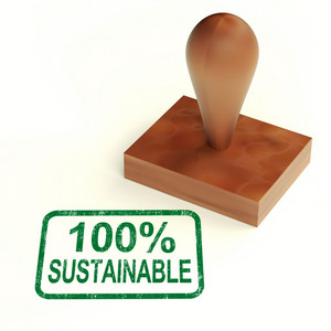 100% Sustainable Stamp Shows Environment Protected And Recycling