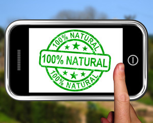 100percent Natural On Smartphone Shows Healthy Food
