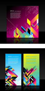 2 Horisontal Web Banners With Modern Abstract Elements