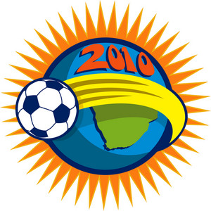 2010 Soccer World Cup Ball And Map Of South Africa