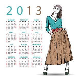 2013. Calendar With Fashion Girl.