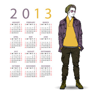 2013. Calendar With Stylish Dude.