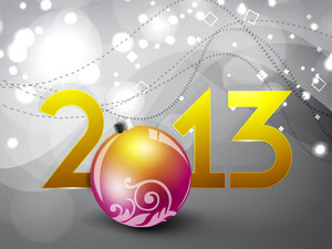 2013 Happy New Year Greeting Card With Decorative Christmas Ball.