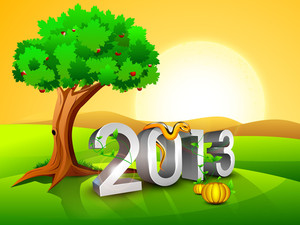 2013 New Year Morning Landscape Background