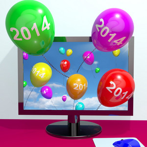 2014 Balloons From Computer Representing Year Two Thousand And Fourteen Greeting Online