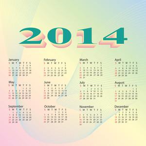 2014 Calendar Pastel Color