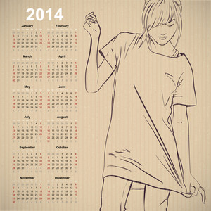 2014. Calendar With Fashion Girl.