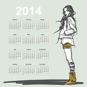 2014 Calendar With Fashion Girl.