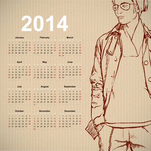 2014. Calendar With Stylish Dude.