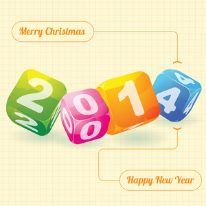 2014 Year (design Element For Calendar, Greeting Cards, Sales Stickers)