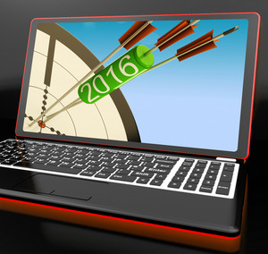 2016 Arrows On Laptop Shows Future Expectations And Resolutions