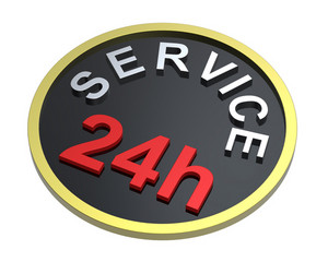 24 Hours Service Sign.