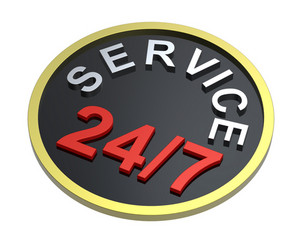 24 Hours Seven Days A Week Service Sign Over White.
