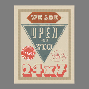 24X7 hours open retro Help Center flyer or template design with free home delivery offer for you.