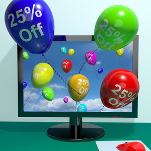 25% Off Balloons From Computer Showing Sale Discount Of Twenty Five Percent Online