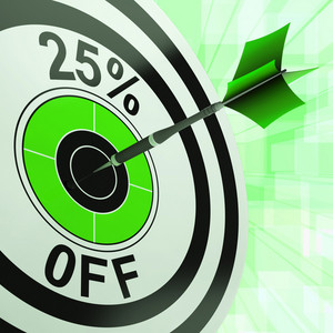 25 Percent Off Shows Percentage Reduction On Price