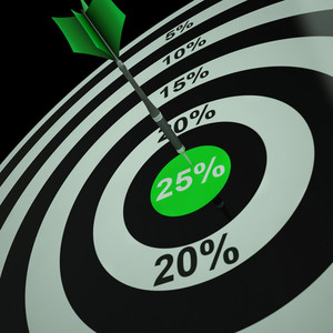 25 Percent On Dartboard Shows Aimed Markdowns