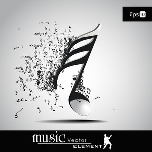 3 D Vector Illustration Of Musical Node With Burst Effect. View Our Portfolio For More Designs.