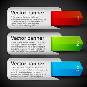 3 Vector Banners With Colorful Tags.