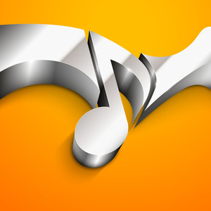 -3d Abstract Glossy Musical Note On Yellow Background