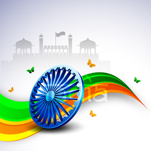 3d Ashoka Wheel On National Flag Colors