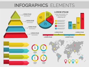 3D business infographics with statistics including map for professional presentation and reports.