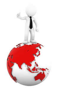3d Businessman Standing On Earth Globe: Asian Side.