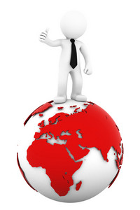 3d Businessman Standing On Earth Globe: European And African Side.