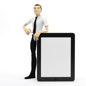 3d Businessman With Blank Tablet Pc