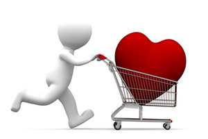 3d Character Driving Shopping Cart With Red Heart Inside