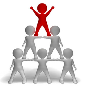 3d Character Pyramid Showing Hierarchy And Teamwork