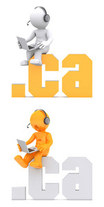 3d Character Sitting On .ca Domain Sign.