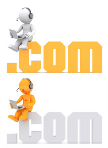 3d Character Sitting On .com Domain Sign.