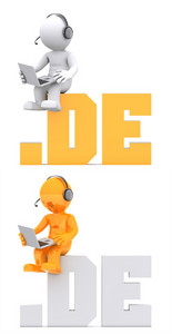 3d Character Sitting On .de Domain Sign.