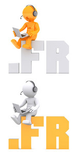 3d Character Sitting On .fr Domain Name.