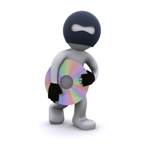 3d Character Stealing Cd. Computer Piracy Concept