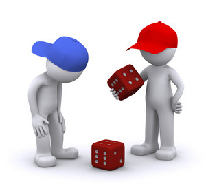 3d Characters Playing Dice