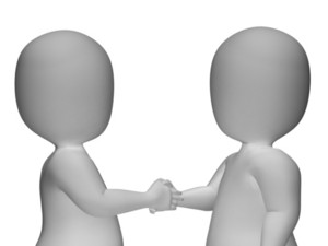 3d Characters Shaking Hands Shows Greeting Or Deal