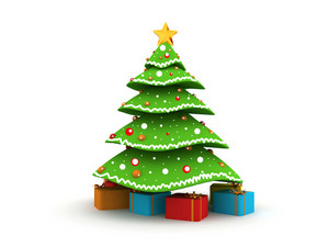 3d Christmas Tree With Gift Boxes
