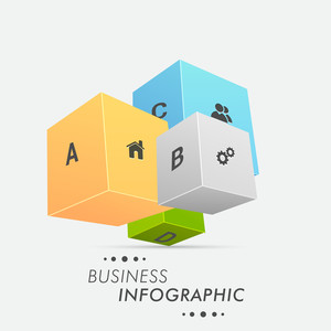 3D colorful Business Infographics layout with web icons and alphabets on grey background.