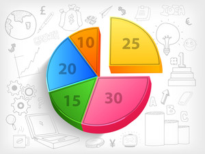 3D colorful pie chart with various statistical infographic elements for business reports and presentation.