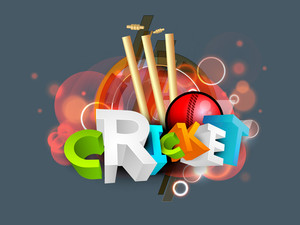 3d Colorful Text Cricketwith  Stumps