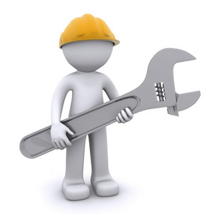 3d Construction Worker With Adjustable Wrench