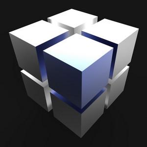 3d Design Blocks Showing Futuristic Graphic